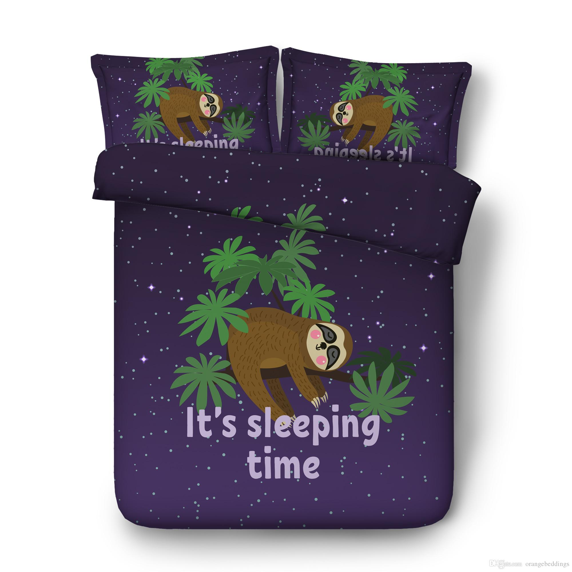 3 Piece Bedding Set With 2 Pillow Shams Lazy Sleepy Bear Theme Tribe Of Australian Sloths Bed Set Cute Smiling Sloth Duvet Cover Baby Sloths
