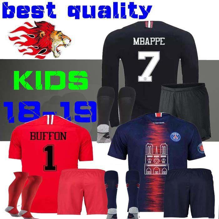 75cb0f046 2019 2018 2019 Kids Kit Soccer Jerseys 18 19 Mbappe Home VERRATTI CAVANI  Child Buffon RED Psg SHIRT Notre Dame AJ Notre Dame Long Sleeve BOYS From  Wu717273