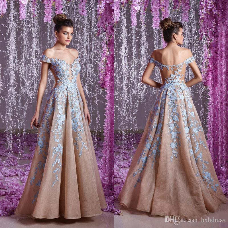 Toumajean Couture Backless Evening Dresses Off Shoulder Plunging Neck Beaded Prom Gowns A-Line Floor Length Appliques Evening Dress 4035