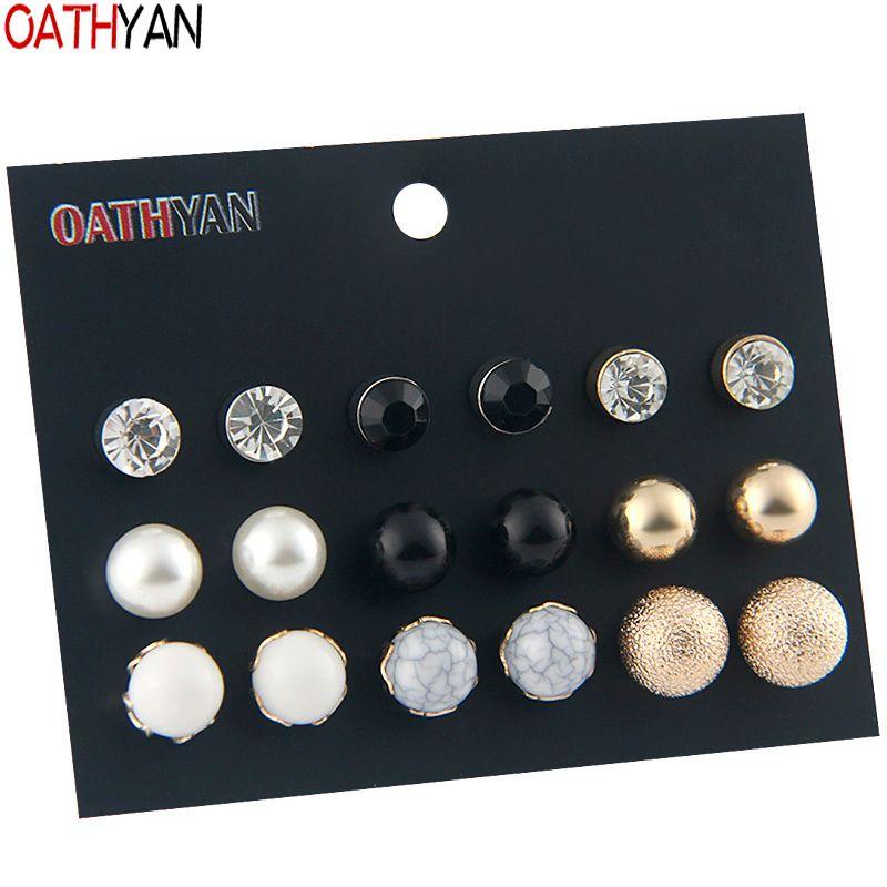 OATHYAN Trendy Acrylic Beads Simulated Pearl Stud Earrings Set For Women Ball Black Crystal Earring Girl Gift Brinco