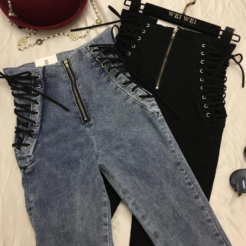 5fe0cc16c Moda para mujer Pantalones Vaqueros Nuevos Pantalones hasta el tobillo  Europa Venta caliente con cordones Bowknot Pantalones Lápiz delgado Con  estilo ...