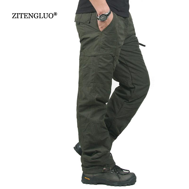 Winter Double Layer Thick Men Cargo Pants Casual Warm Baggy Cotton Trousers For Men's Pants Male Military Camouflage Tactical Y19042201