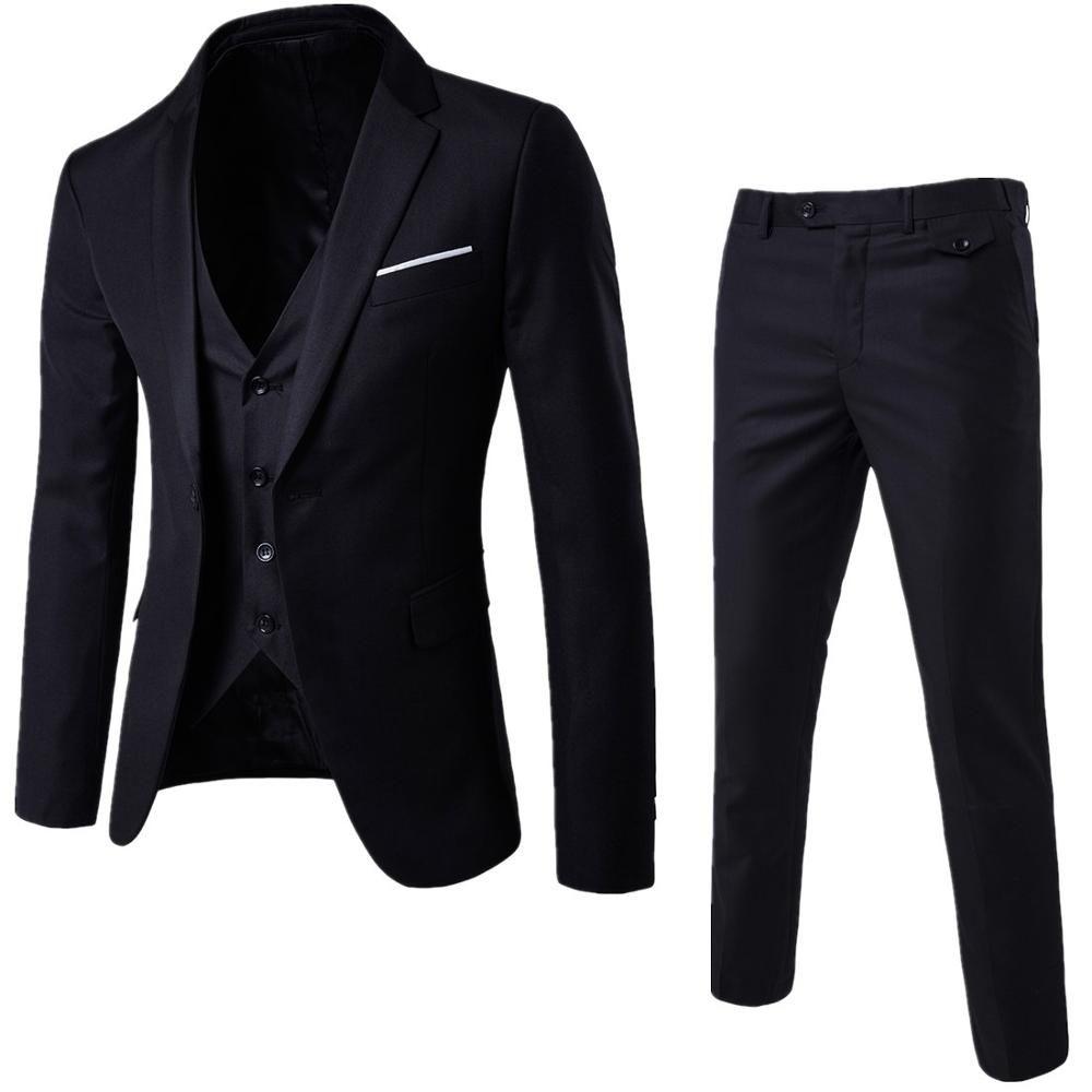 11d8b38624b2d Satın Al Ceket + Pantolon + Yelek Siyah Takım Elbise Erkekler Bahar Yeni 3  Parça Suit Erkek Slim Fit Düğün İş Takım Elbise Smokin Kostüm Homme, ...