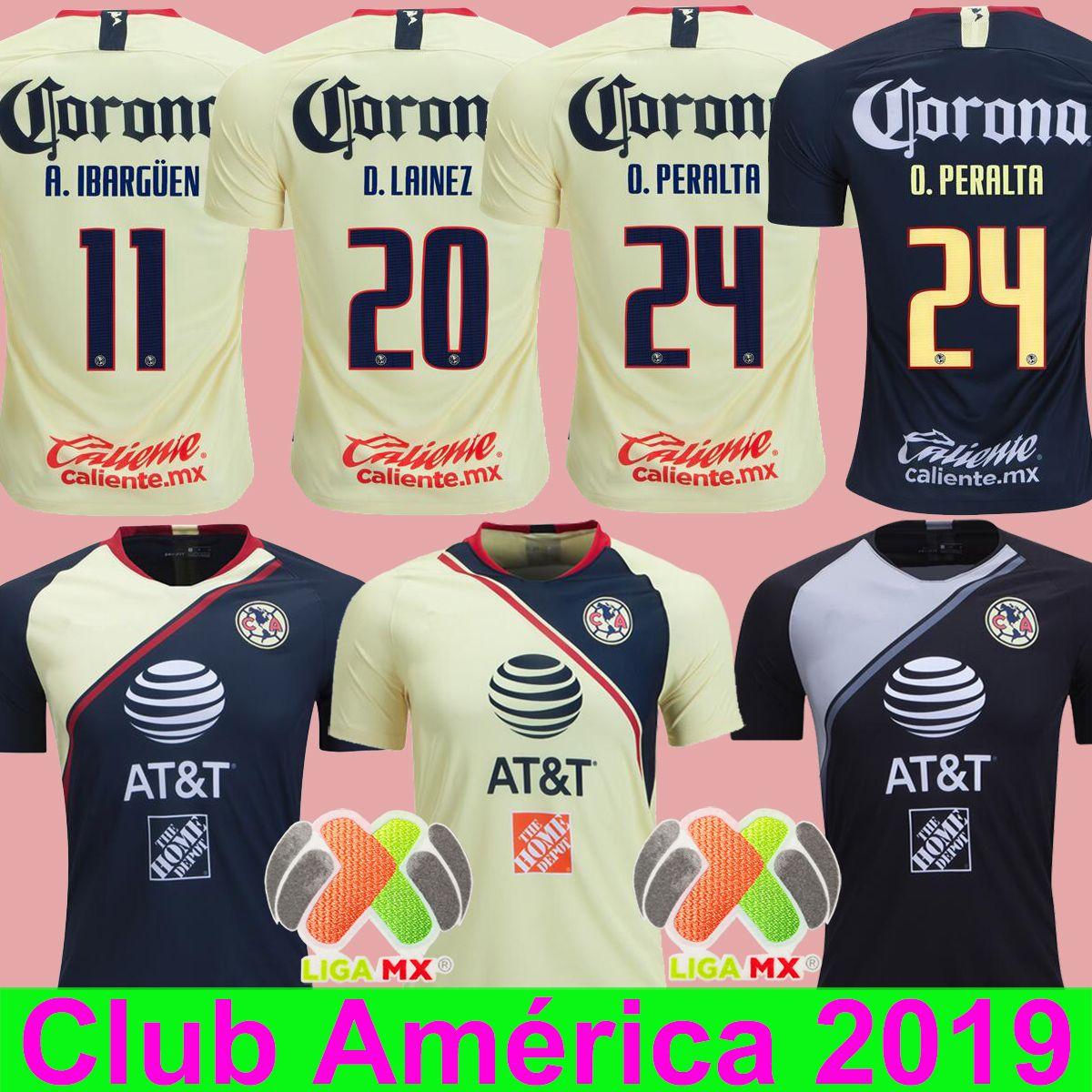 O.PERALTA 2018 2019 Club América Casa Amarillo Camiseta De Fútbol RODRIGUEZ  MENEZ MATHEUS Azul DOMINGUEZ IBARGÜEN Raimundo PERALTA 24 Camiseta Por  Soccer518 ... 5c475409447ca