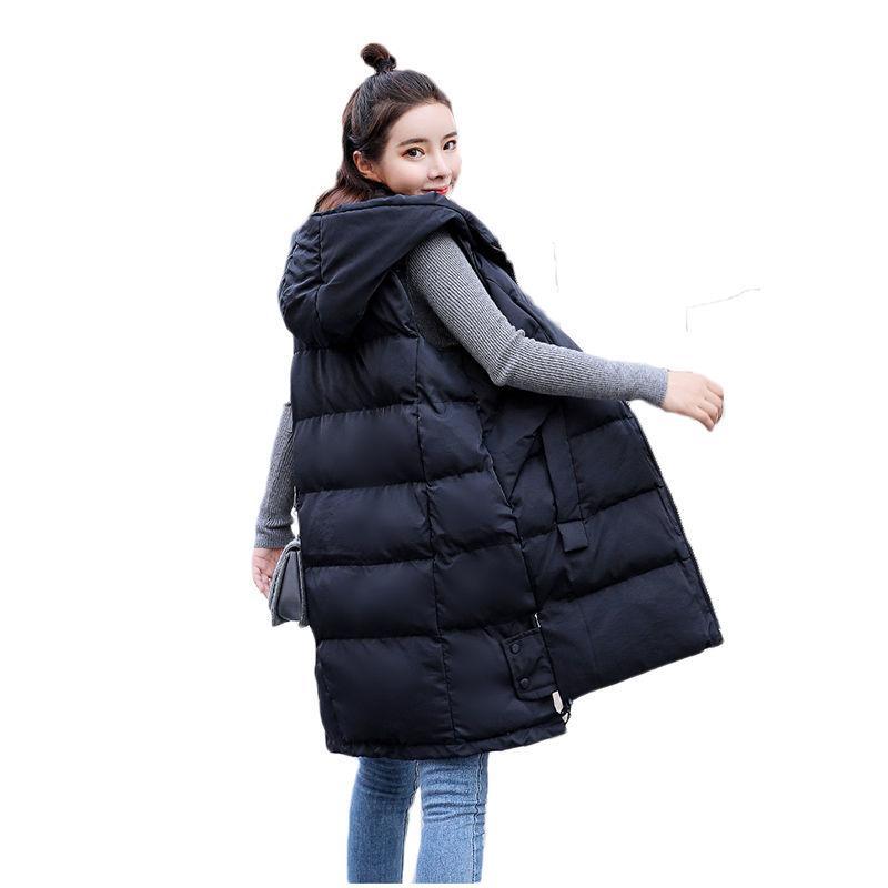 reputable site 71007 d7c83 Korean Herbst Winter Weste Weste Frauen 2019 weibliche ärmellose Jacke  Kapuze warme lange Weste Jacke schwarz / weiß S-3XL f044