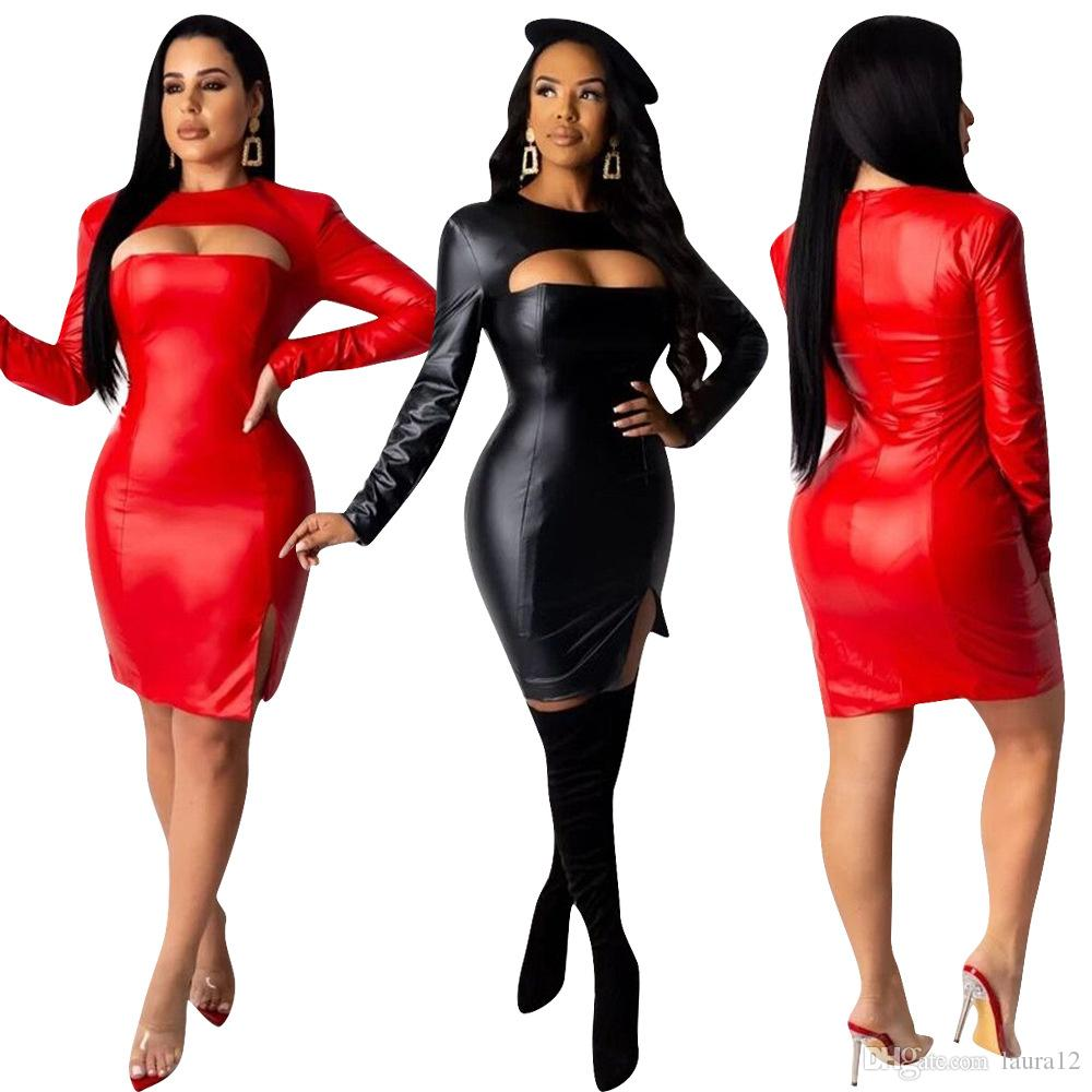 2020 Hottest PU Leather Party Dress High Quality Hollow Out Bust Crew Neck Long Sleeves Charming Clubwear Bodycon Dresses Side Split