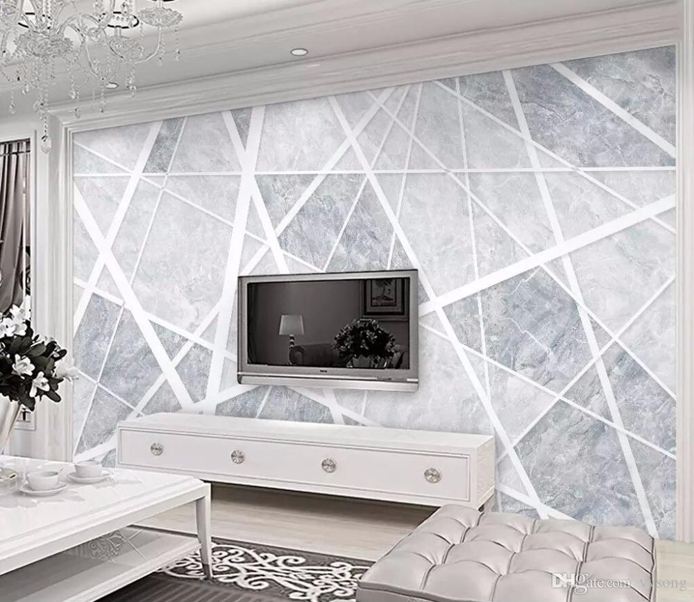 Bacaz Newest 3D Modern gray line Wallpaper sticker paper 8d Abstract  geometry Wall paper Mural For Living room Wall Murals Decor