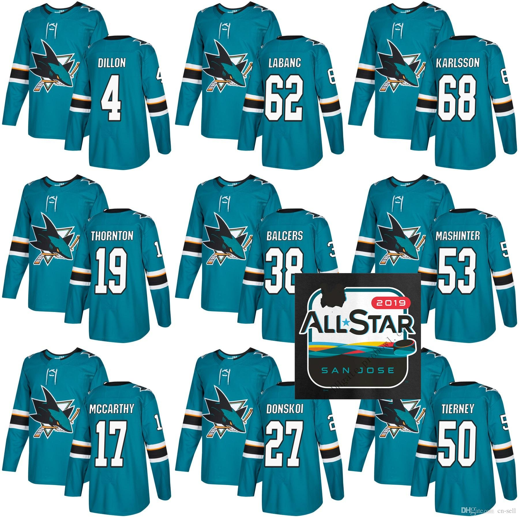 2019 All Star Game Patch San Jose Sharks Melker Karlsson 19 Joe Thornton 53  Brandon Mashinter 38 Rudolfs Balcers Hockey Jersey AD San Jose Sharks Hockey  ... cacb4a110