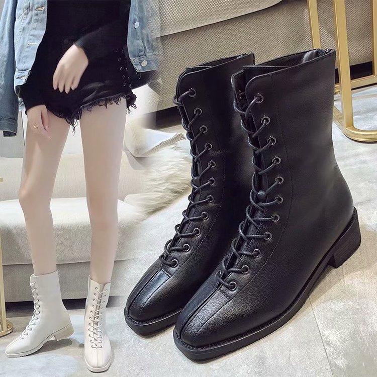 en soldes d5c51 3276d biker boots women booties woman 2018 womens winter shoes botte femme  motorbotas mid black lady lace quilted for high martens