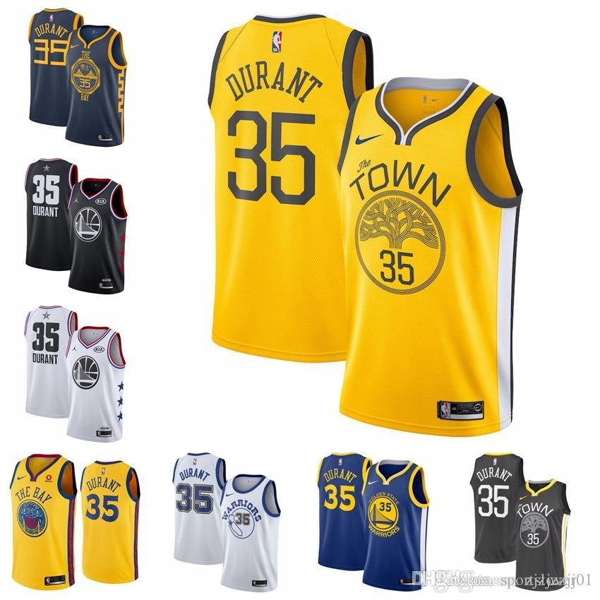 factory price 92762 04bdc 2019 35 Durants Warriors Jersey The City Golden States Thompson 11  Basketball Jersey NEW
