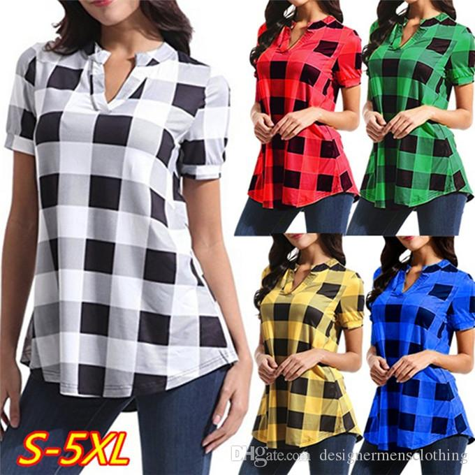 Plaid Printed V Neck Womens Shirts Summer Loose Short Sleeve Contrast Color Long Tops