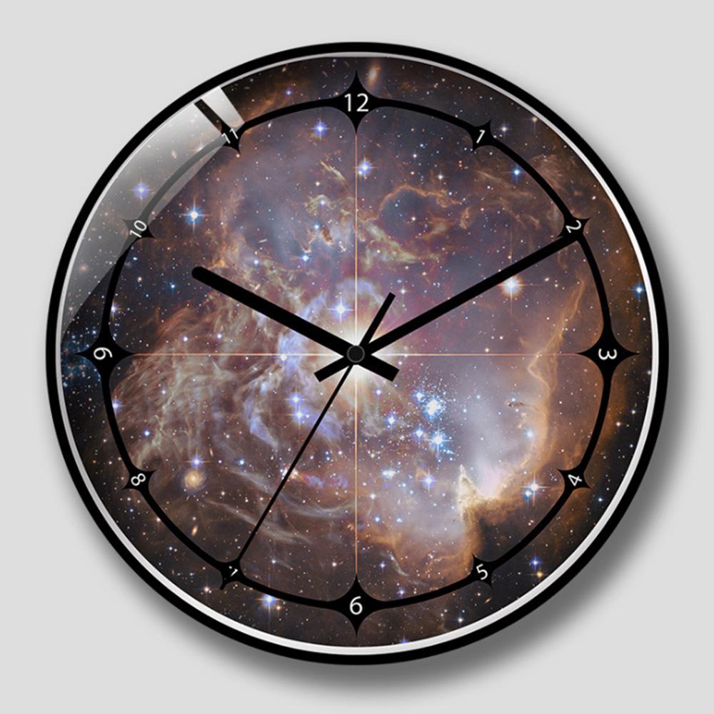 Großhandel Sternenhimmel Wanduhr Universum Galaxie GlassMetal Stille ...