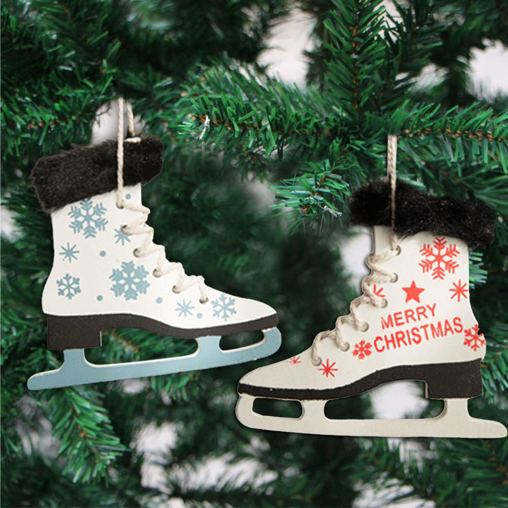 Christmas Pendant Simple Fashion Skate Wooden Sleds Boots Hanging Christmas Decorations Tree Hanging Pendant40