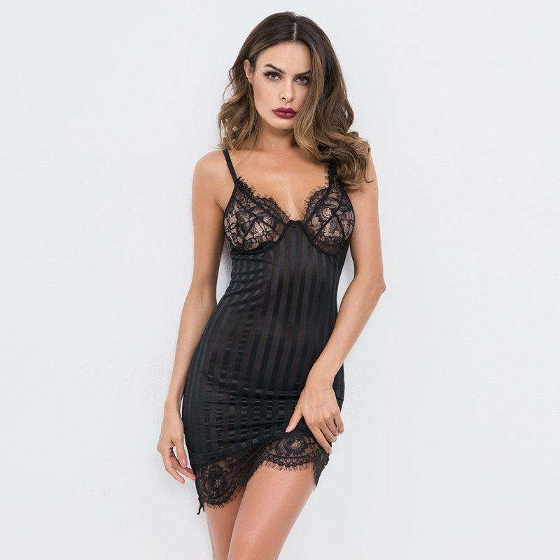 2019 Women Babydolls Sexy Lingerie Hot Erotic Dress Mini Lace Transparent  White Sleepwear Ladies Black Sex Nightwear Babydoll Chemise From  Guichenshirt c2f72228f