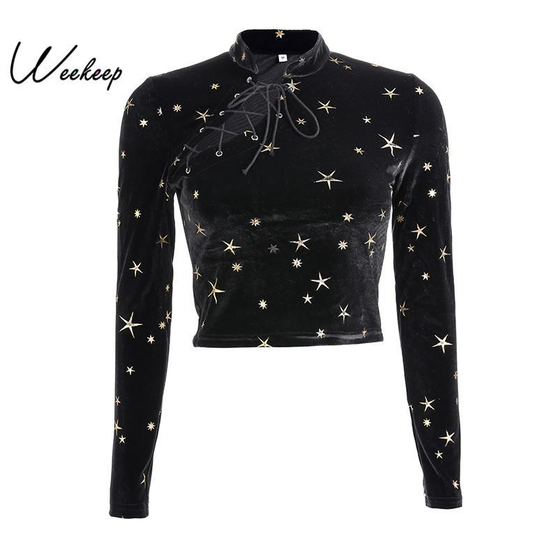039d8564d Weekeep Women Chinese Style Long Sleeve T Shirt Black Velvet Cropped Tshirt  Spring Autumn Casual Tee Shirt Femme Crop Top J190427 Online Buy T Shirts  Tna ...