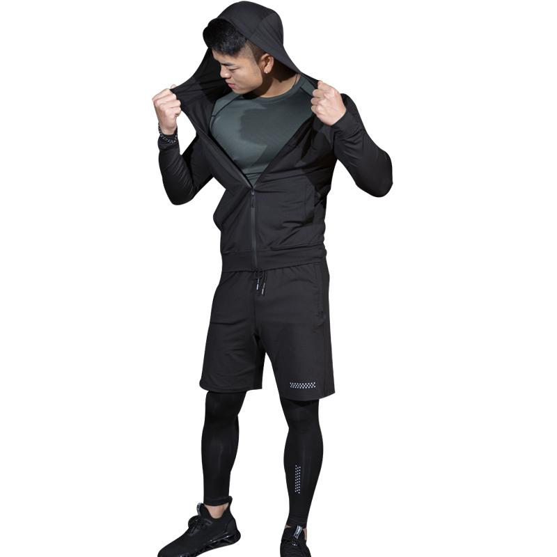 ESHINES 2019 Fashion New Suit Yoga Men Polyester Spandex Sport Gym Thermal Quick Dry Big Size Tight Suit Cheap Price For Male