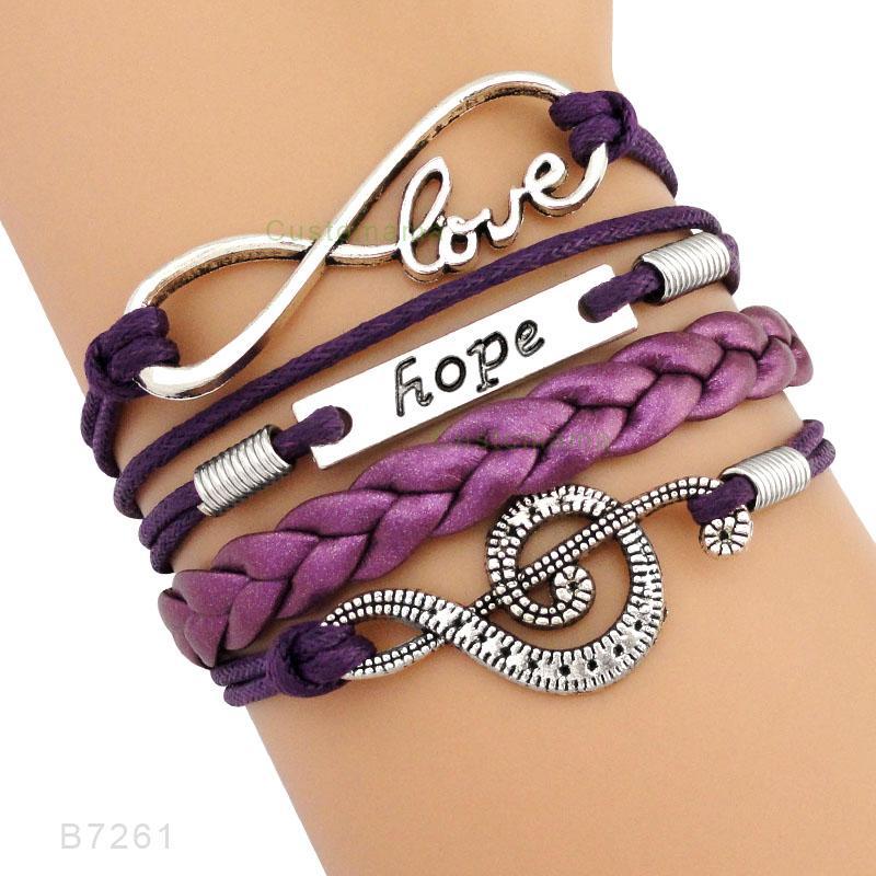 Music Note Treble Clef Wave Ballet Dance Dancer Heart Infinity Love Charm Bracelets Purple Pink Women Men Unisex Jewelry Gift
