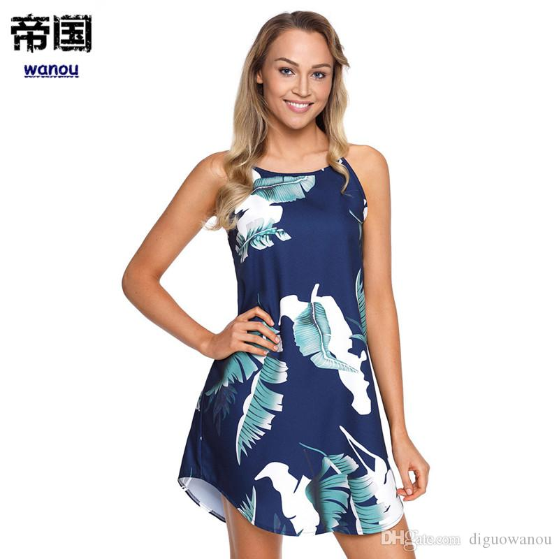 8c35356fa6d2 Sexy Cute Sweet Short Dress Women Lady Blue Round Collar Sleeveless Leaf  Flower Flora Print NEW Fashion Casual Streetwear Beach Dress Floral Dress  Online ...