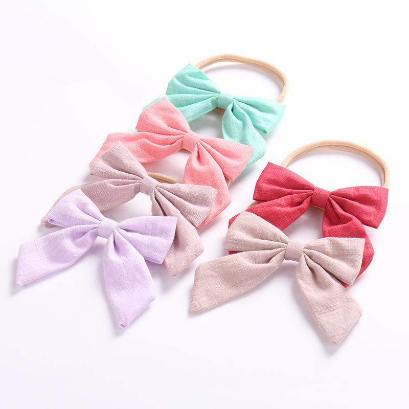 9bf6c8020acba Girls Cotton Bow Headband Swallowtail Knot Headbands Baby Nylon ...