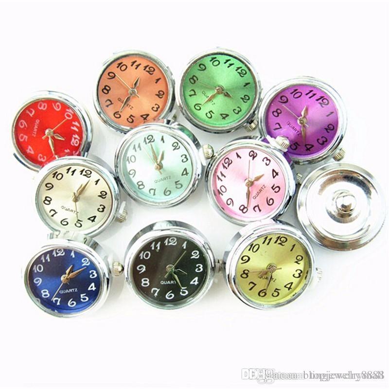 dce9ae2ee5e4 Mezcla 10 unids / lote Reloj de Cristal Botones a Presión Encantos Fit 18mm  / 20mm Jengibre Broche DIY Pulsera Botones Reemplazables Joyería DIY