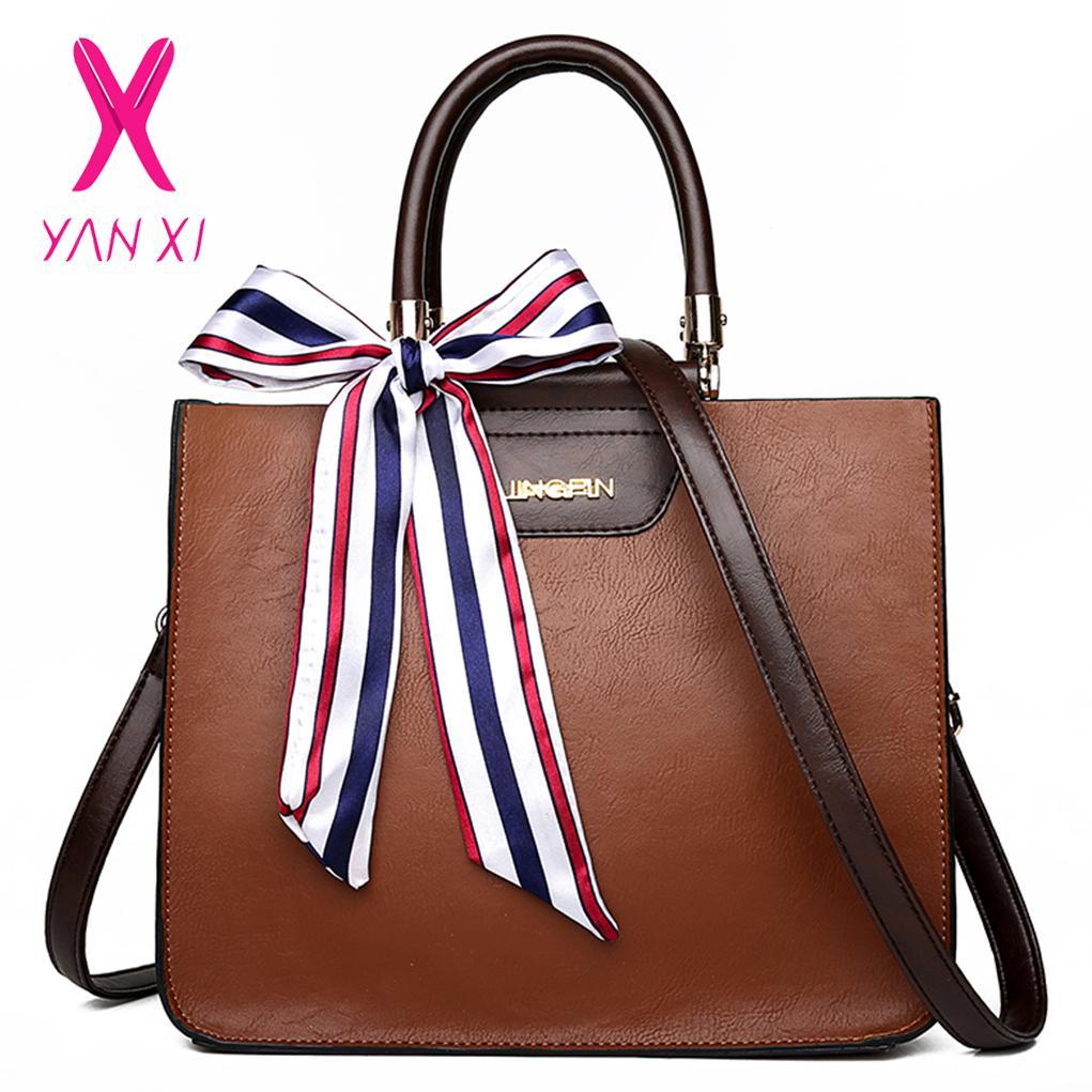 b6deaa903a11 YANXI Vintage Leather Handbags Big Women Bag High Quality Casual ...