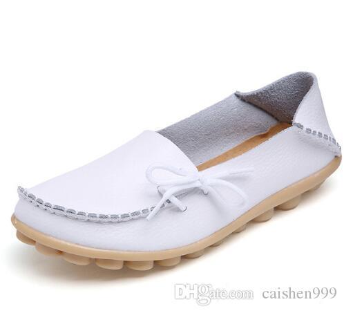b09f3e81d7e Compre Zapatos De Cuero Genuino Ocasionales De Las Mujeres Mocasines De  Mujer Zapatillas Sin Cordones Mocasines Para Damas Calzado Para Dama  Calzado Para ...