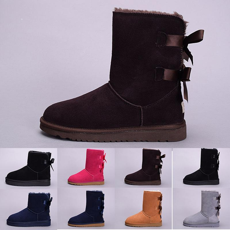 d4b7782ed50 2019 New winter Australia Classic snow Boots good fashion WGG tall boots  real leather Bailey Bowknot women's bailey bow Knee Boots mens shoe