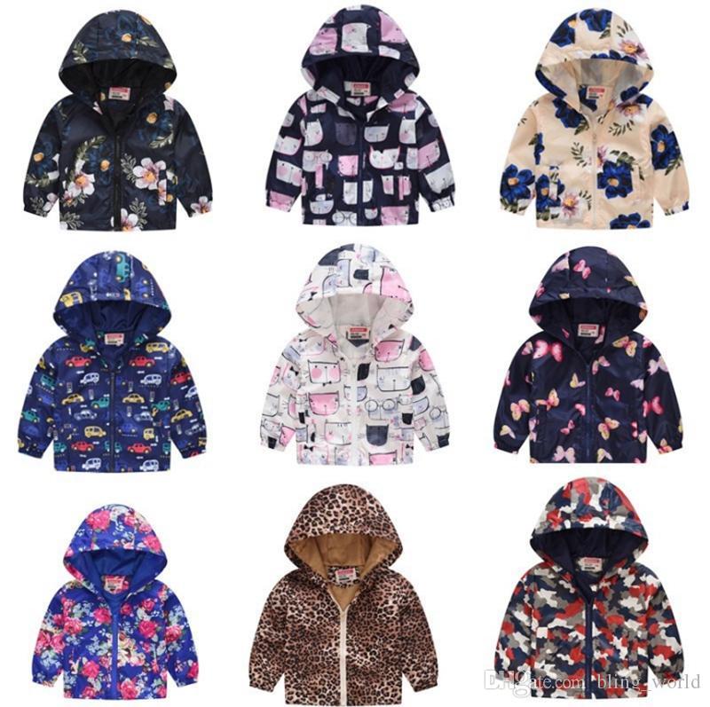 6565d1989 Kids Coats Printed Baby Boy Hooded Windbreaker Floral Girls Hoodie ...