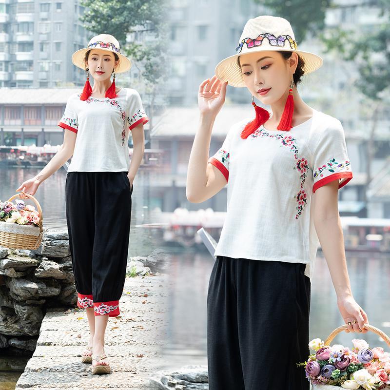 f2381e2e3 blusas y blusas para mujer estilo mexicano diseñador étnico o cuello manga  corta blanca azul marino bordado blusa tops camisa