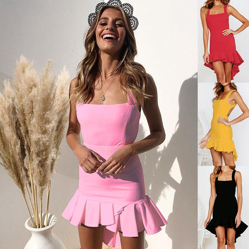 80dc5eea167a Ladies Sleeveless Sling Ruffled Camis Dress Summer Ruffled Fishtail Swing  Sleeveless Dress Party Dress Size S-XL VD5178 Mini Bodycon Fishtail Mermaid  Dress ...