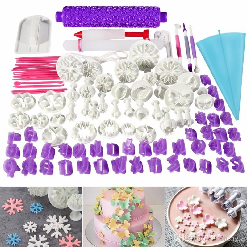 94pcs Cake Decorating Tools Plunger Fondant Cake Pastry Cutters Baking Tools Dough Roller Rolling Pin Full Set Kitchen Baking Molding Kit
