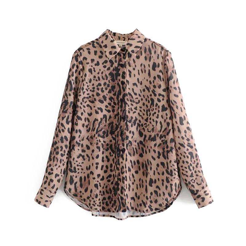 Blusas Femmes Mujer Casual Imprimé Léopard Blouses Animal Arrivé Vintage Tops Revers Bouton Dames 2019 Nouveau Motif Collier Chemises NO8wXn0kPZ