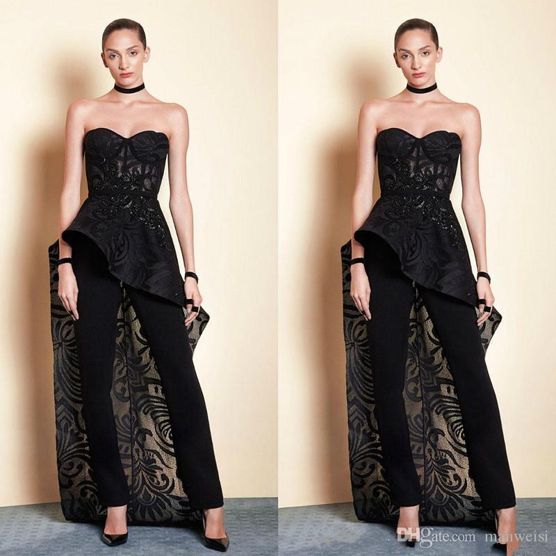 9cc032439660 Tony Ward Black 2019 Prom Dresses Women Jumpsuit With Long Train Lace Beads  Sweetheart Elegant Evening Gowns Plus Size Formal Dress Emo Prom Dresses  Faviana ...