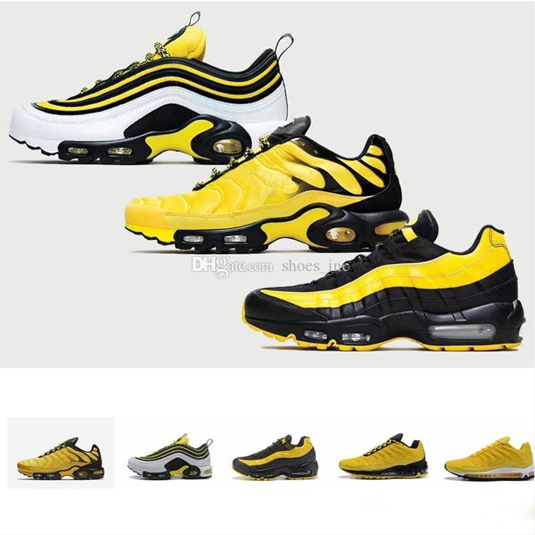 3440dd6576ccee 2019 New 97 95 TN Plus Running Shoes Yellow Black Men Women Air ...