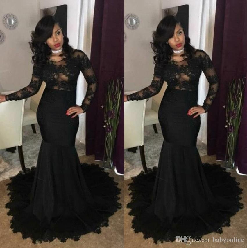 8c8a8999c7c Sexy Illusion Bodices Black Girl Prom Party Dresses 2019 Mermaid Jewel Neck Lace  Appliques Long Sleeves African Evening Gowns Wear BA7785 Cute Prom Dresses  ...