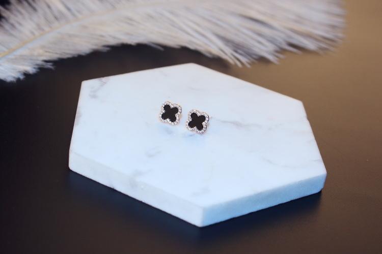 d12b9ae666a Agood moda kadınlar için küpe siyah yonca earing damızlık 925 ayar gümüş  pin yüksek kalite