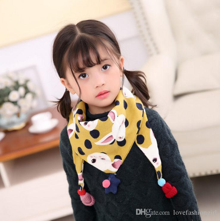 Cotton Scarf For Kids All-match Animals Pattern Wraps 2018 Spring and Summer Brand New Fashion 2-layer Fabric Triangle Neck Scarf LSF076
