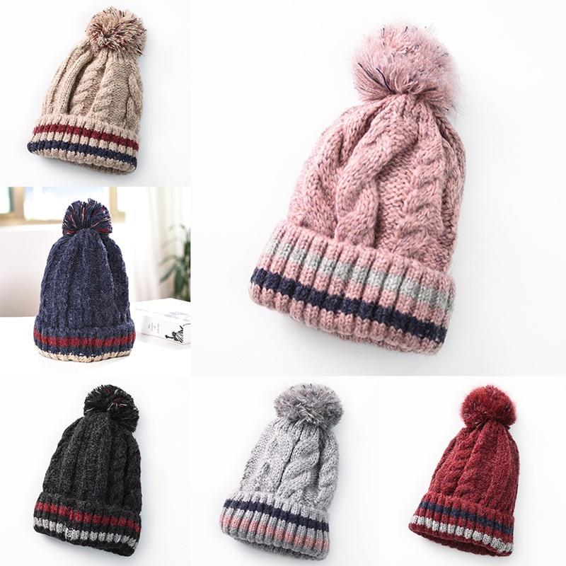 b6f219954f5a2 New Arrival Women Winter Linen Pattern Knit Hat Thickened And Velvet Ball  Warm Cap For Students Teenagers Funny Hats Baseball Hat From Shukui