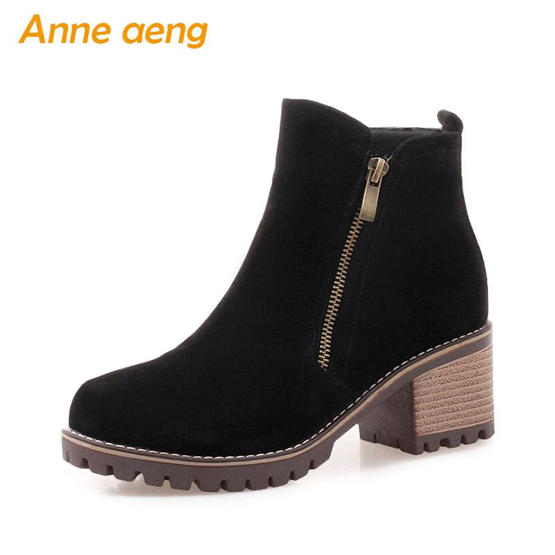 f7bd2525ab0 2019 New Winter Women Ankle Boots High Square Heel Round Toe Zipper Sexy  Ladies Women Shoes Black Short Boots Big Size 34-43