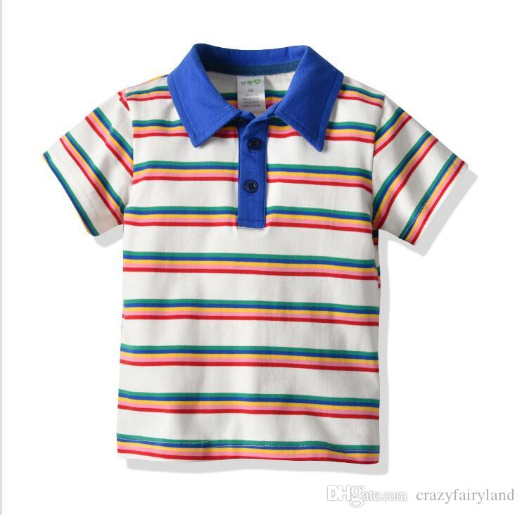 Toddler Boys Clothes Striped Polos Shirts 2019 Summer Boys Short Sleeve Cotton Polo Tops Tees Kids Teen Casual Clothing Baby Clothes 1-7Y