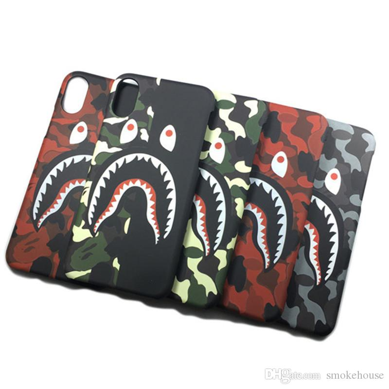 Cell Phone Cover Hard PC Case Camouflage Spoof Shark Mouth for iPhone X MAX 7p/8plus Tide Brand XS/XR DHL