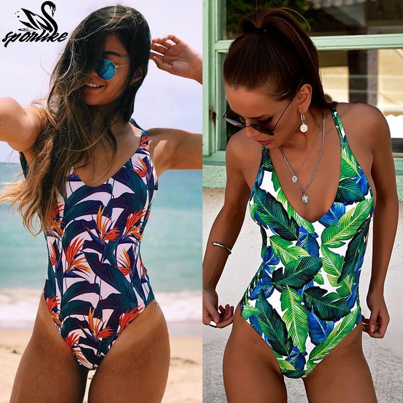 3b1c70909d 2019 One Piece Swimsuit 2019 Sexy Cross Back Swimwear Women Swimsuit  Vintage Retro Bathing Suits Beach Wear Swim Print Monokini S Xl From  Happy_sport, ...