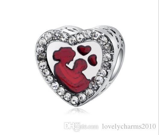 233465950a3 Fits Pandora Bracelets 30pcs Mother & Baby CrystalEnamel Silver Charms Bead  Charm Beads For Wholesale Diy European Sterling Necklace Jewelry