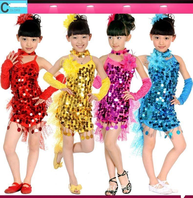 4b9e80861 2019 7 Sizes Lace Girl Latin Dance Dress Samba Salsa Sequined ...