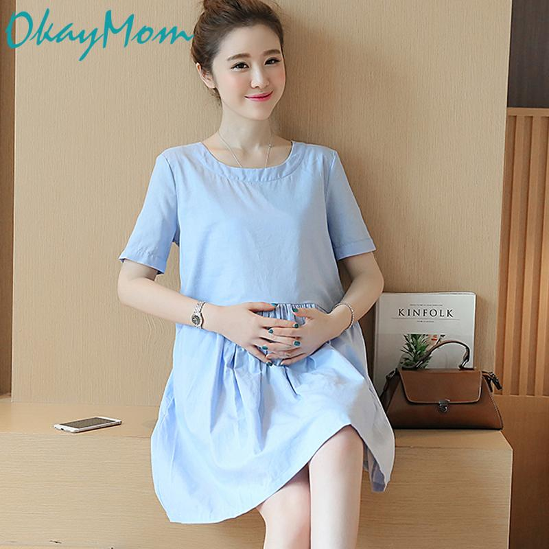 eeb023d23c331 2019 OkayMom Summer Maternity Dress Clothing Korean Causal Loose Pregnancy  Wear Dresses Blue Vestido Clothes For Pregnant Women 2019 From Paradise02,  ...