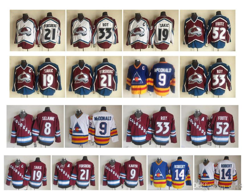 best service 0df49 5d6d6 Vintage Colorado Avalanche Jersey 33 Patrick Roy 19 Joe Sakic 21 Peter  Forsberg 52 Adam Foote 8 Teemu Selanne 9 Paul Kariya CCM Hockey