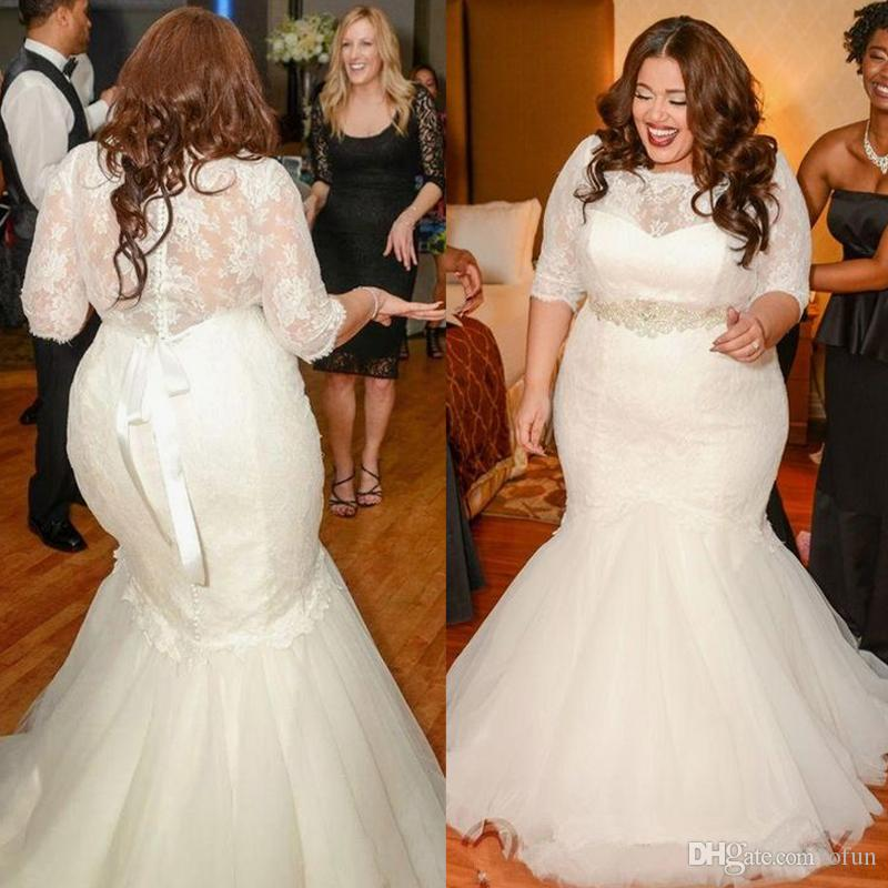 Half Sleeve Lace Wedding Dress Plus Size