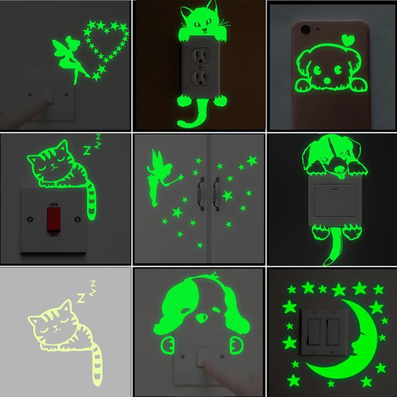 Cartoon Leuchtende Schalter Aufkleber Im Dunkeln Leuchten Wandaufkleber Steuern Dekor Kinderzimmer Dekoration Aufkleber Aufkleber Katze Fee Mond Stern