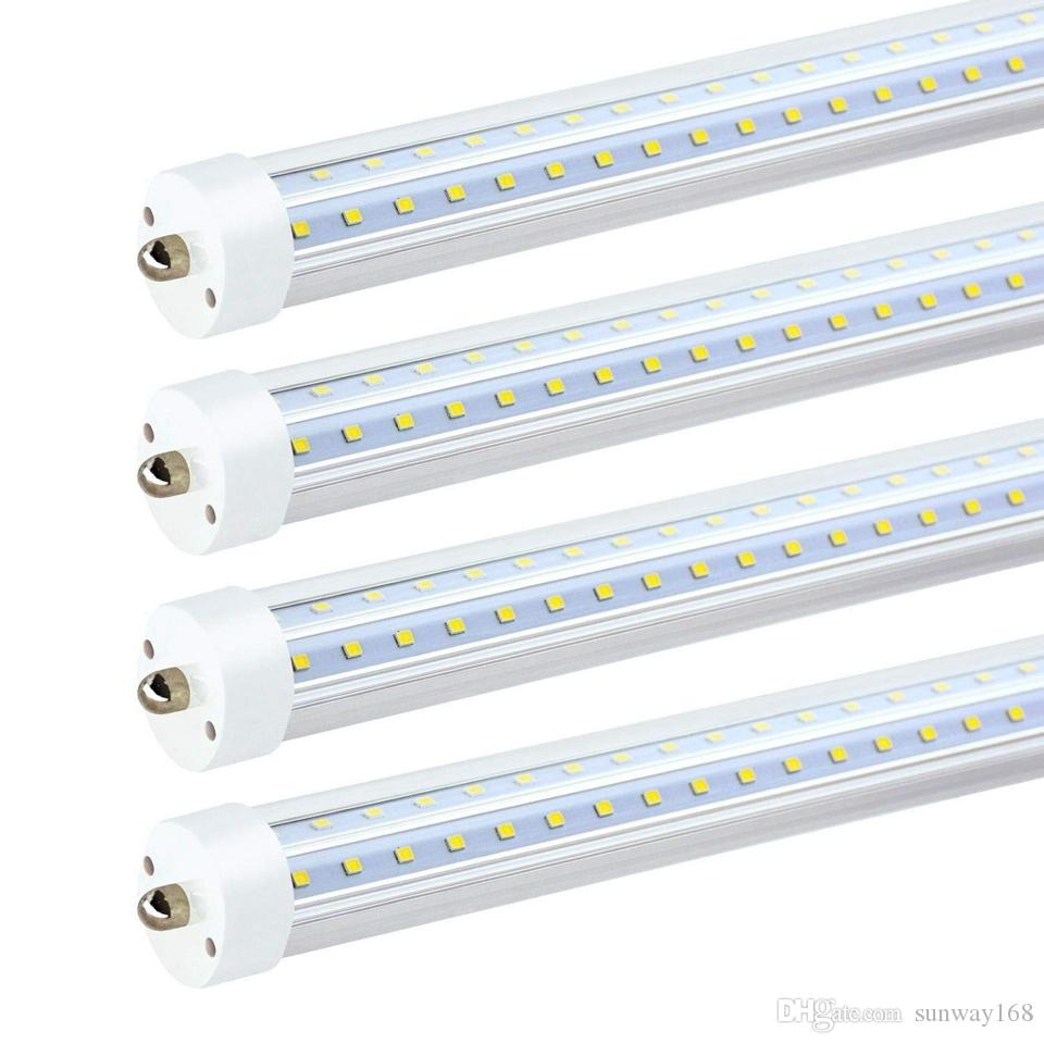 US Stock 8ft led tube T8 72W 7200 lumens V-Shaped and Dural row Double Sides LED Fluorescent Light Bulb Replacement 25-Pack