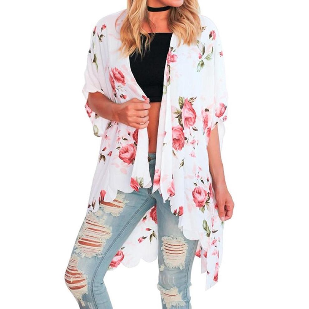 e91f89b25b6 2019 Women Blouse 2018 Summer Thin Chiffon Blouse Shirt Women Tops Kimono  Cardigan Vintage Floral Printed Beach Long Blusa Mujer From Mobile09